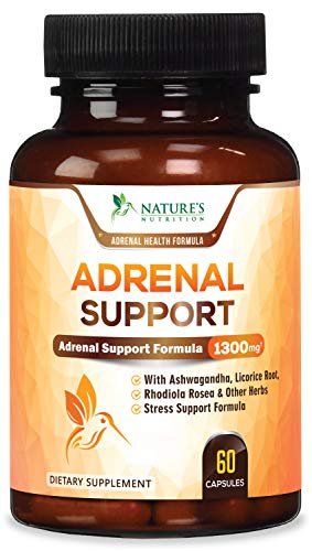 Adrenal Support & Cortisol Manager Health Complex 1300mg - Max Potency Stress Relief & Adrenal Fatigue Supplement with Ashwagandha, Licorice Root, Rhodiola Rosea & Other Herbs, Non-GMO - 60 Capsules