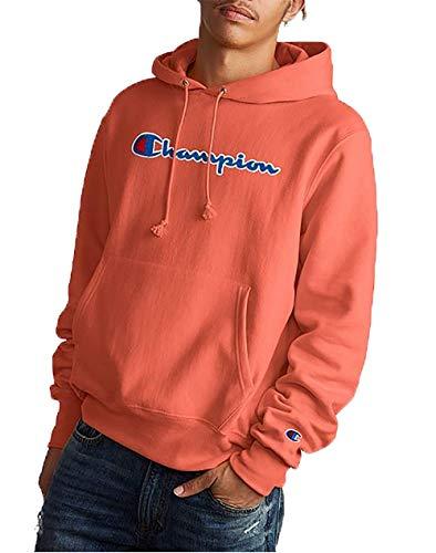 Champion Men's Reverse Weave Chenille Script Fleece Pullover Hoodie (Groovy Papaya, X-Small)
