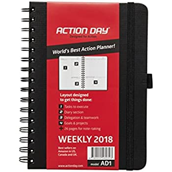 Clearance Sale! - Action Day Planner 2018 - World's Best Goals & Action Layout That Gets Things Done & Increase Productivity - Daily, Weekly, Monthly, Yearly Organizer (6x8,Wire-Bound,Black)