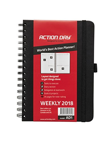 Action Day 2018 – World's Best Action Planner – Action Layout That Gets Things Done - Daily / Weekly / Monthly / Yearly Agenda, Calendar, Organizer & Goal Journal (6x8 / Wire-Bound / Black)