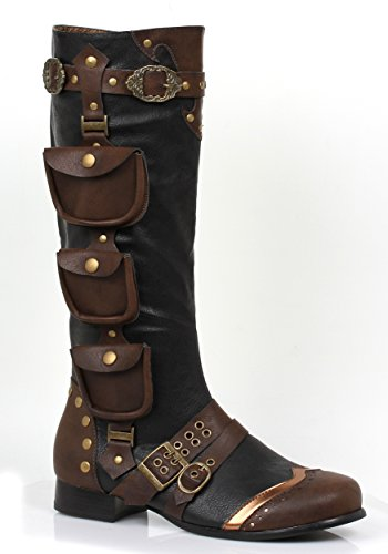 Ellie Shoes E-121-Amos 1 Heel Knee High Boots Men Sizes L Mens USA 12/13 / Black/Brown (Steampunk Clothing Men)