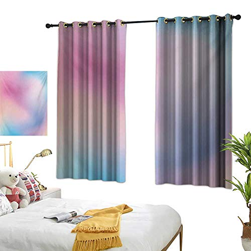LsWOW Bedroom Curtains W63 x L63 Pastel,Abstract Blurry Colors Composition Sweet Daydream Fantasy Miscellaneous,Pink Aqua Peach White Blackout Curtains Window Bedroom ()