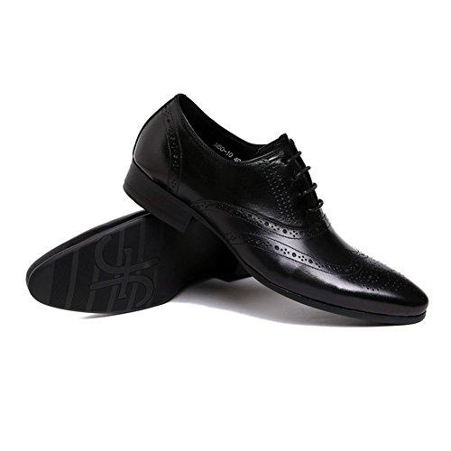 Santimon Heren Semi Brogue Puntschoen Oxfords Dress Lace-ups Schoenen Zwart
