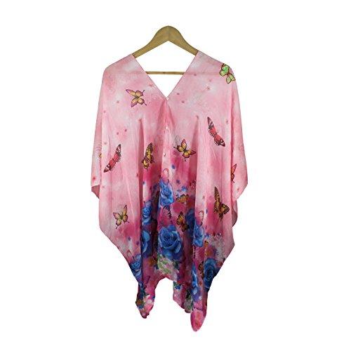 - Fanssie Women`s Fashion Swimwear Beachwear Bikini Cover ups Beach Dress Tops (Hot Pink Butterfly Floral)