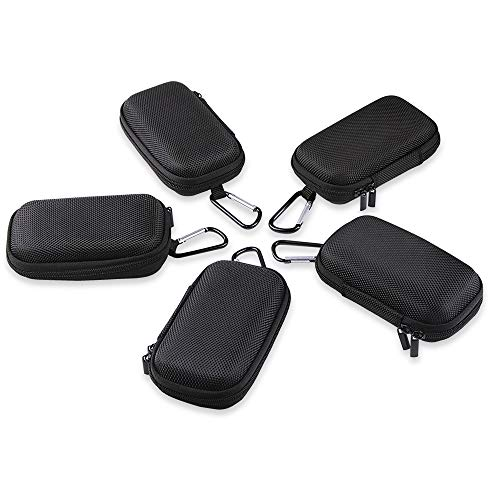Earbud Case, TePoo 5 PC Rectangle Waterproof Protection Hard EVA Case Earbud Bag Organizer with Metal Carabiner Clip and Velvet Inner Lining for Earphone Headset, MP3 Players, USB Cable, Keys, Coins