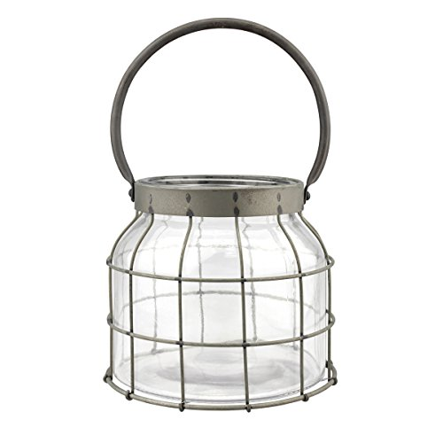 Stonebriar Beach House Pewter Metal Cage Lantern with Handle, Clear