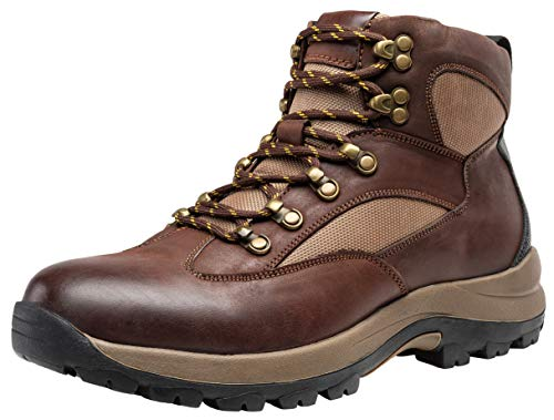 JOUSEN Men's Hiking Boot Leather Work Boots for Men (10.5D(M) US, Brown)
