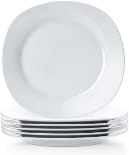 10.5 Inches Porcelain Dinner Plates Square Round Serving Plate Set Set of 6 White