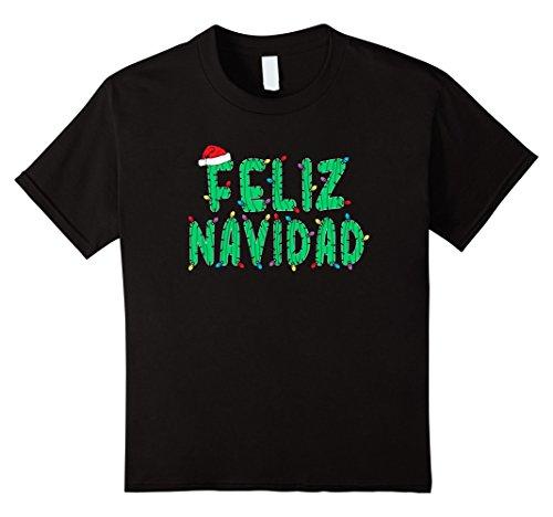 Latin America Costume For Kids (Kids Funny Feliz Navidad T-Shirt Spanish Christmas Cactus Shirt 4 Black)