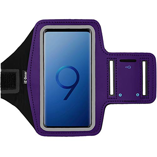 i2 Gear Cell Phone Armband for Running & Exercise - Workout Phone Holder with Adjustable Arm Band & Reflective Border - Sports Armband for Samsung Galaxy S9, S7, S7 Edge, Active & Pixel 2, 3 (Purple)