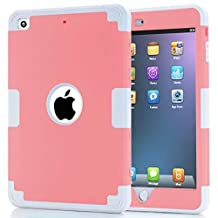 iPad Mini Case,Lantier Cool Series 3 in 1 Hybrid Armor Design PC+ Silicone Defender Case Combo Hard Soft Shockproof Thin Slim Lightweight Case Cover for iPad Mini 1 2 3 Light Gray+Pink