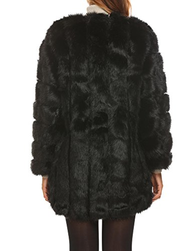Soteer Women's Thick Outwear Winter Warm Long Faux Fur Coat Jackets Black XL by Soteer (Image #3)