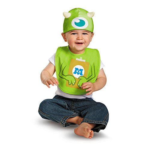 [Disguise Baby's Disney Pixar Monster's University Mike Infant Bib and Hat, Green/Blue/Brown/White, 0-6 Months] (Monster Inc Mike Costume)