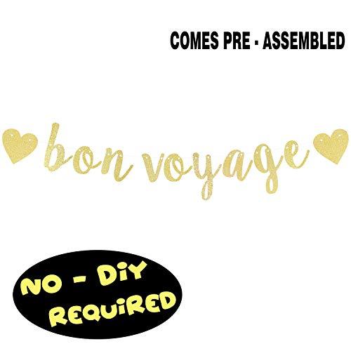 Bon Voyage Banner - Bon Voyage Gold Glitter Cursive Script