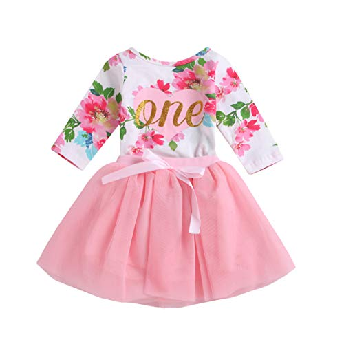 irst Birthday Floral Romper Tops+Lace Tutu Skirt Outfits (Pink, 6-12 Months) ()