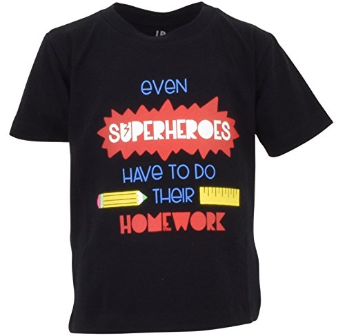 Unique Baby Boys Even Heroes Do Homework Back to School Shirt (8) -