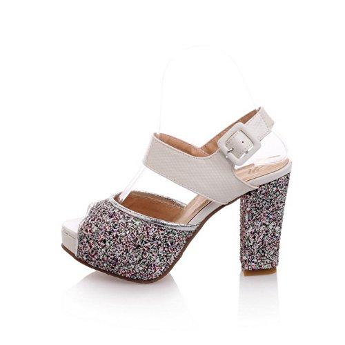 Plattform UK Weiches Rot Sandalen PU High Offene Solid 4 5 VogueZone009 Heels mit Toe Schnalle Peep Chunky Heel Womens Material F1pwYBwnS