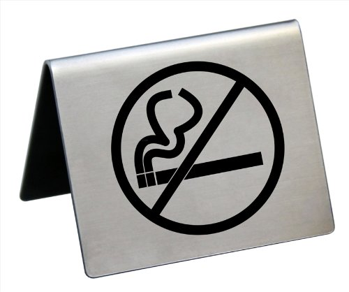 New Star Foodservice 26849 NO SMOKING Table Tent Sign, Stainless Steel, 2 x 1.5-Inch, Set of 6
