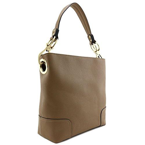 Large Hobo Shoulder Bag with Big Snap Hook Hardware Stone
