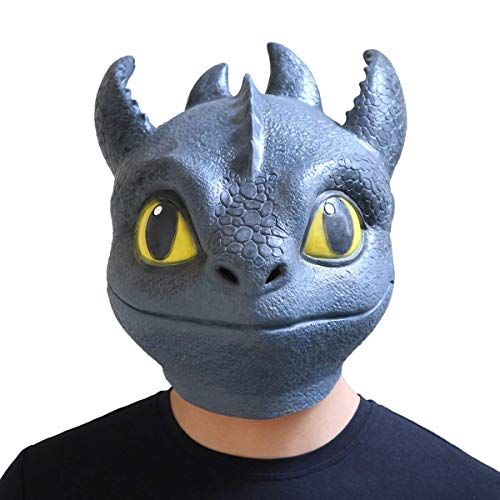 Full Fury Helmet Face - HitHopKing Dragon Toothless Night Fury Mask Toy Latex Face Helmet Deadpool Movie Style Cosplay Mask (Dragon Toothless) Blue