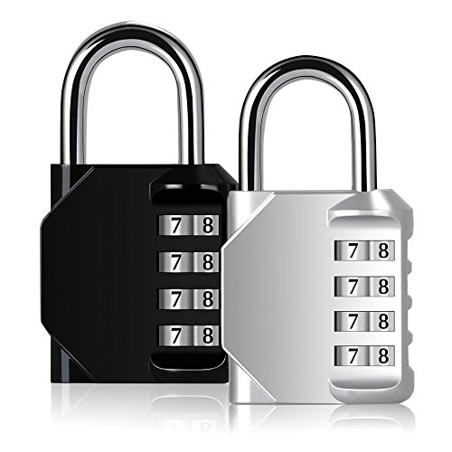 Blingco Combination Lock, 4 Digit Anti Rust Padlock Set Security Padlock for Gym, Sports, Fence, School and Employee Locker, Outdoor, Hasp Cabinet and Storage, 2 Pack Rust Proof Padlock
