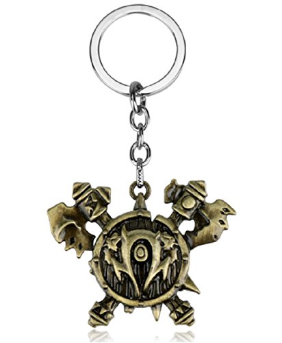 World of Warcraft Horde Logo Bronze Metal Enamel Keychain