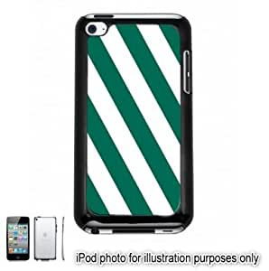 Green Slanted Cabana Stripes Apple iPod 4 Touch Hard Case Cover Shell Black 4th Generation