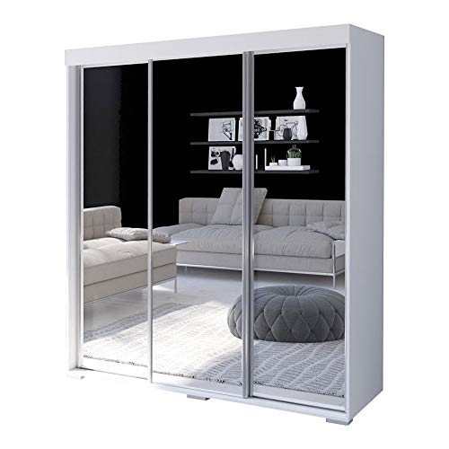 "Aria 3 Door 71"" Wide Modern High Gloss Wardrobe Armoire (White with Mirror/Mirror)"