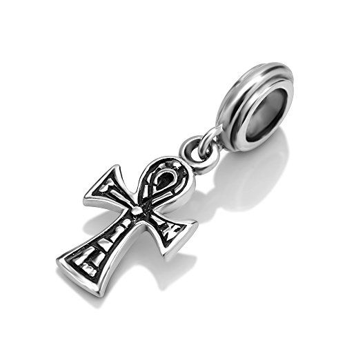 925 Sterling Silver Ankh Cross Dangle Bead Charm Fit Major Brand ()