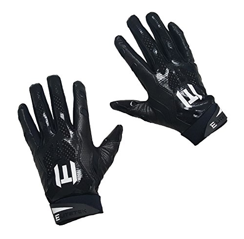 EliteTek E-17 Football Gloves Youth & Adult (Black, Adult Large)