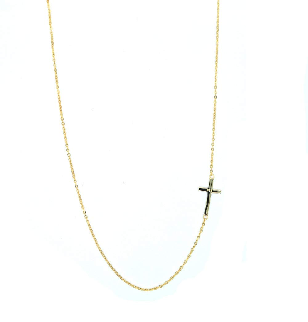 Metal Color: Rose Gold Color Gabcus Authentic 925 sterling silver 2018 dainty stunning mini cz cross sideway tiny thin chain women ladies cross simple necklace