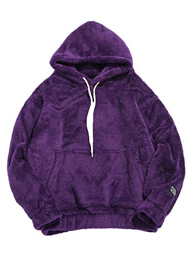KENANCY Mens Solid Casual Fluffy Hoodie with Pocket Oversized Pullover Sweatshirt (Purple, 2XL)