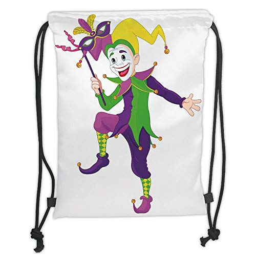 Mardi Gras,Cartoon Style Jester in Iconic Costume with Mask Happy Dancing Party Figure,Multicolor Soft Satin,5 Liter Capacity,Adjustable String Closure,Th