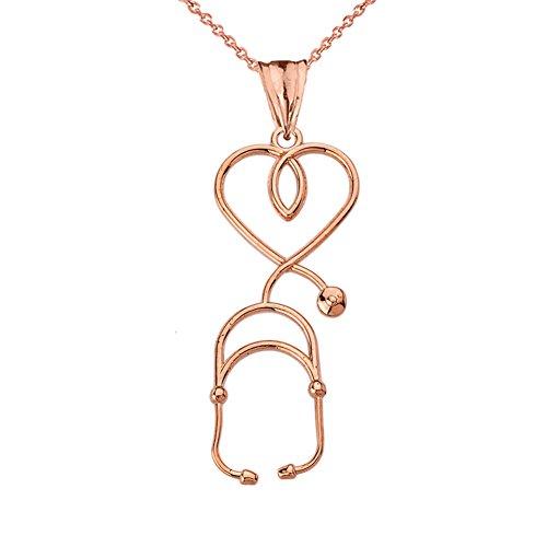 Fine 10k Rose Gold Heart-Shaped Stethoscope Pendant Necklace, 18