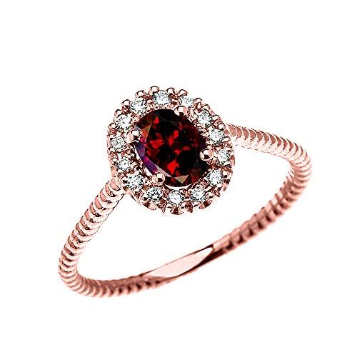 Bague Femme/ Bague De Fiançailles 14 Ct Or Rose Diamant Et Ovale Grenat Solitaire Conception De Corde