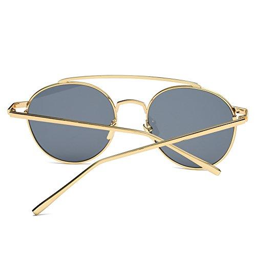 moderno con montura Nube dorada buen hombre mujer UV redondas con sol San y lentes para diseño de protección y regalo Valentín Gafas anti para grises qCr7qUOw