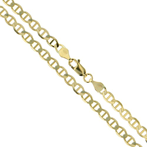 10k Yellow Gold Solid Mariner Chain Marina Anchor Link 2.5mm Necklace 24