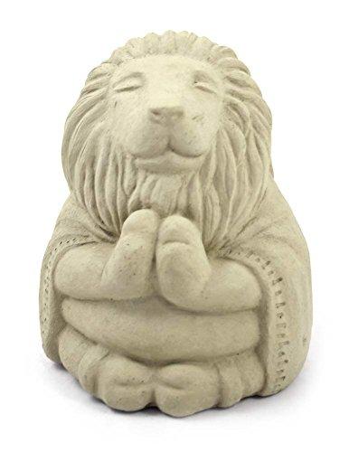 Meditating Lion - Cast Stone Garden Sculpture : large size, antique beige finish