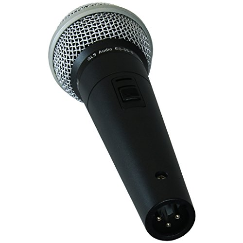 GLS Audio Vocal Microphone ES-58-S & Mic Clip - Professional Series ES58-S Dynamic Cardioid Mike Unidirectional (With On/Off Switch)