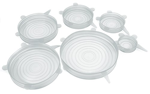 Set of 6 Durable Reusable Silicone Food Saver Covers,BPA Free,Expandable to Fit Various Sizes and Shapes of Bowls,Pots,Containers. Dishwasher,Freezer,Microwave Safe (White)