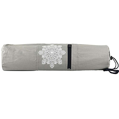 Gracefulvara Thicken Canvas Fabric Yoga Mat Bag Adjustable Strap and Breathable Hole Yoga Bag with Extra Zipped Storage Compartments