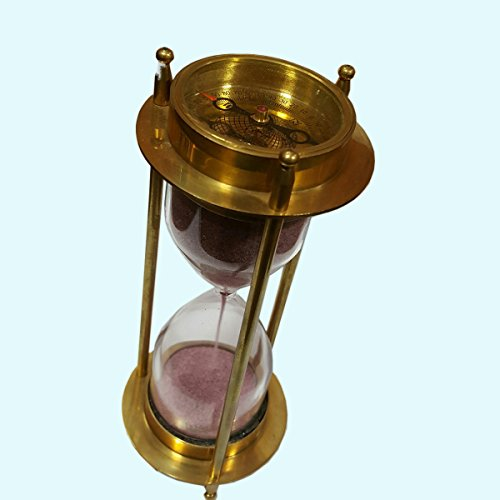 Antiques World Nautical Antique Vintage Marine Collectible Hourglass Clock Compass Sand Timer AWUSAST 014 (Collectible Marines Clock)