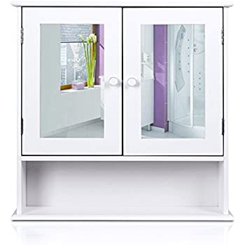 homfa bathroom wall cabinet kitchen medicine storage organizer with mirror double doors