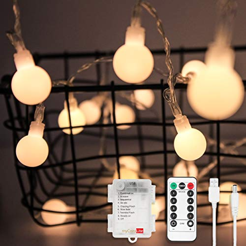 myCozyLite LED Globe String Lights, Battery and USB Operated, 50 LED, Decorative Warm White String Lights for Wedding Party, Holiday, Patio, Garden, Room, Remote Control (Lights Led Holiday Living)