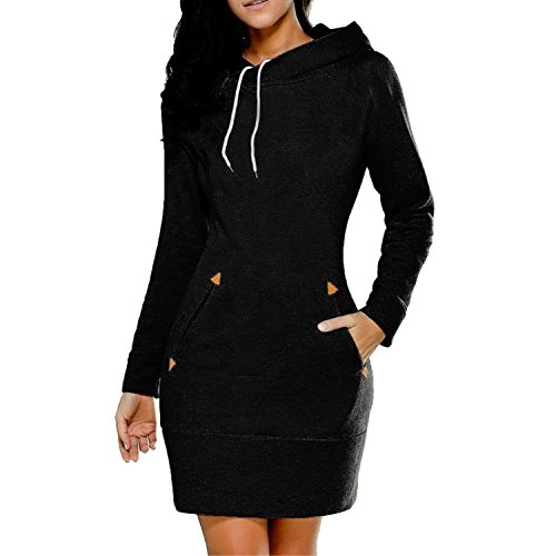 Women Long Sleeve Bodycon Slim Fit Casual Hoodie Dress with Kangaroo Pockets (14, Black) (Hood Dress)