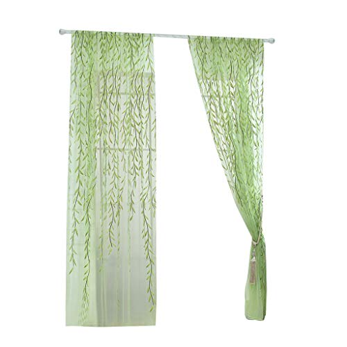 - Guo Nuoen Door Tulle Room Window Curtain Pastoral Style Branch Willow Leaves Sheer Voile Panel Drapes Shop Home Room