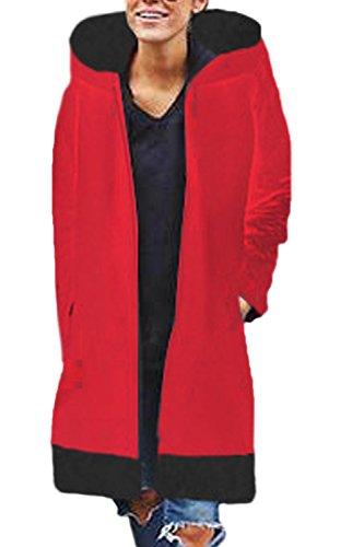 Gruesa Externa Rojo Prendas Capa MIDI Colorblock Capucha Invierno Mujer La Con Cremallera qY711