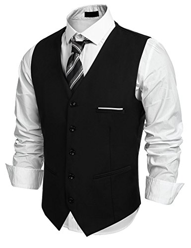 Black Watch Blazer - edited Mens Waistcoat Single Breasted Sleeveless Blazer Formal Business Dress Suit Vest