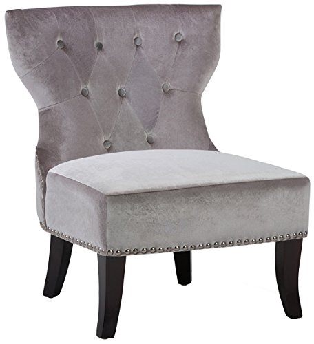 (Simpli Home AXCKITS73O5G Kitchener Traditional 28 inch wide Accent Slipper Chair in Grey Velvet)