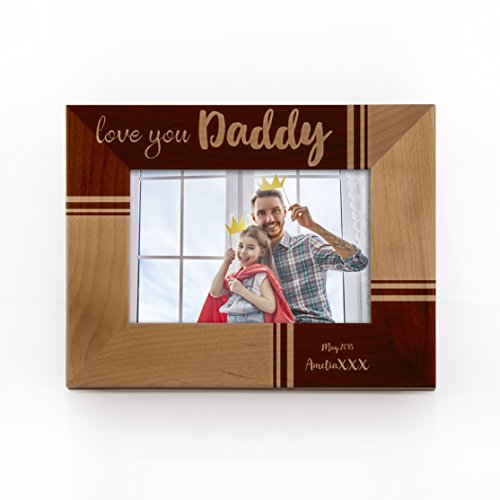 Engravable Wood Picture Frames - Personalized Picture Frame for Dad Father Grandpa Papa | Customizable with Names & Date Unique Keep Sake Fathersday Gifts from Daughter Son Grandson #7